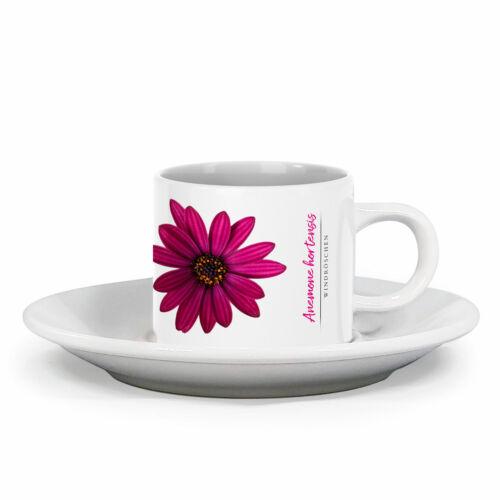 Espressotasse Anemone mit Blumendesign im Vintage Look mit Wunschname
