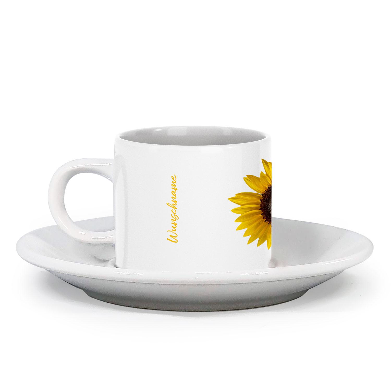 Espressotasse Sonnenblume mit Blumendesign im Vintage Look mit Wunschname