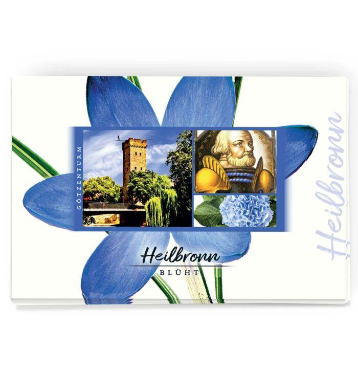 Schöne Heilbronn Postkarte mit Blumenmotiv und dem Götzenturm