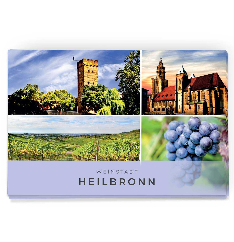 Schöne Weinstadt Heilbronn Postkarte mit dem Götzenturm