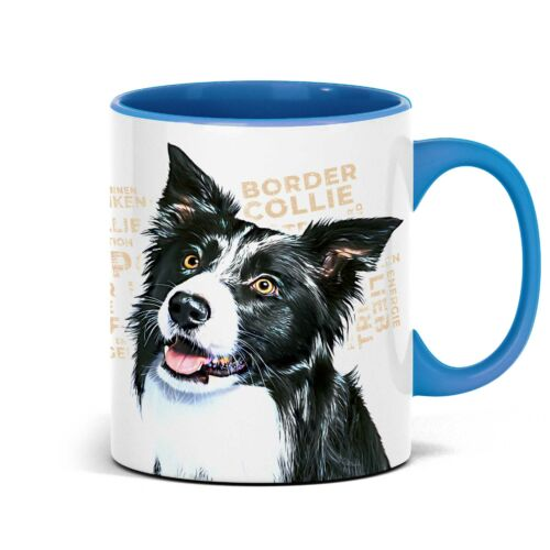 Border Collie Tasse mit Hundemotiv mit Namen