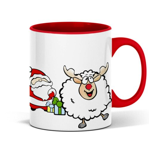 Tolle Weihnachtstasse mit Weihnachtsmann und Rentierschaf