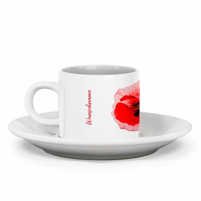 Espressotasse Mohnblume mit Blumendesign im Vintage Look
