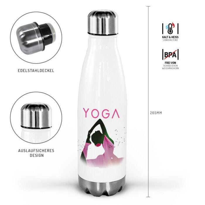 Yoga Trinkflasche personalisierbar mit LotusMotiv.